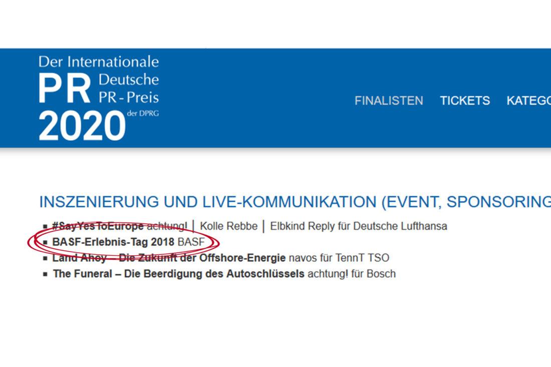 Agentur Ressmann | PR-Preis Nominierung DPRG