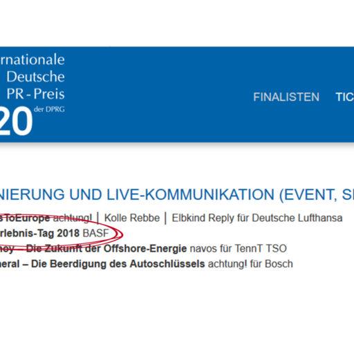 Agentur Ressmann | PR-Preis Nominierung